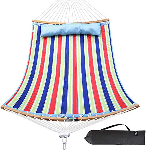 Ohuhu Double Hammock Quilted Fabric Swing with Strong Curved-Bar Bamboo & Detachable Pillow, 55'x75' Large Hammocks with Carrying Bag, 4.6'W x 6.2'L, Red & Blue Stripe