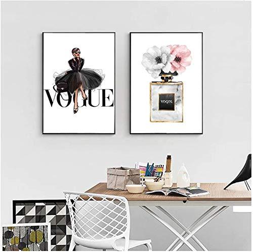 Tankaa Impresión sobre lienzo de estilo nórdico, pintura en lienzo de Vogue Girl Póster escandinavo, para sala de estar, decoración moderna del hogar, enmarcada, 50 x 70 cm, 2 unidades sin marco.