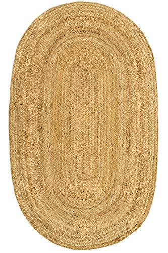 HAMID Jute Teppich Natur - Alhambra Oval Teppich 100% Naturfaser de Jute (140x70cm)