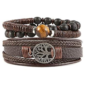 HZMAN Genuine Leather Tree of life Bracelets Men Women Tiger Eye Natural Stone Lava Rock Beads Ethnic Tribal Elastic Bracelets Wristbands  Brown