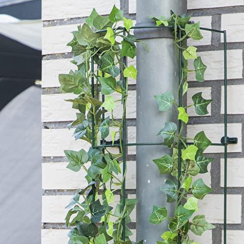 2X Rankhilfe je 100 cm hoch - Rankspalier grün für Kletterpflanzen wie Rosen Spalier - halbrund für Fallrohre Regenrinne oder Baumstämme