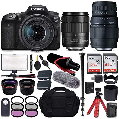Canon EOS 90D DSLR Camera with EF-S 18-135mm f/3.5-5.6 is USM + Sigma 70-300mm f/4-5.6 DG Macro Lens for Canon EOS & All-in-One Professional Travel Bundle