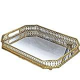 Bandeja Decorativa Bandeja de almacenamiento placa de espejo de cristal dorado metal Cocina Mesa de la decoración del hogar Placa del desayuno para Sala de Estar ( Color : Gold , Size : 35x25cm )