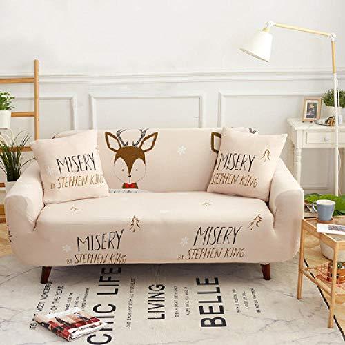 Funda Sofas 2 y 3 Plazas Ciervo Fundas para Sofa con Diseño Elegante Universal,Cubre Sofa Ajustables,Fundas Sofa Elasticas,Funda de Sofa Chaise Longue,Protector Cubierta para Sofá