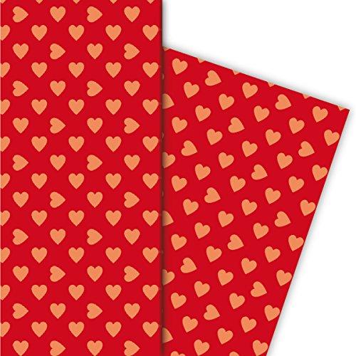 Kartenkaufrausch romantisch met grote harten cadeaupapier set als luxe geschenkverpakking, 4 vellen, 32 x 48 cm universeel pakpapier om mooier te maken, knutselen, scrapbooking oranje op rood