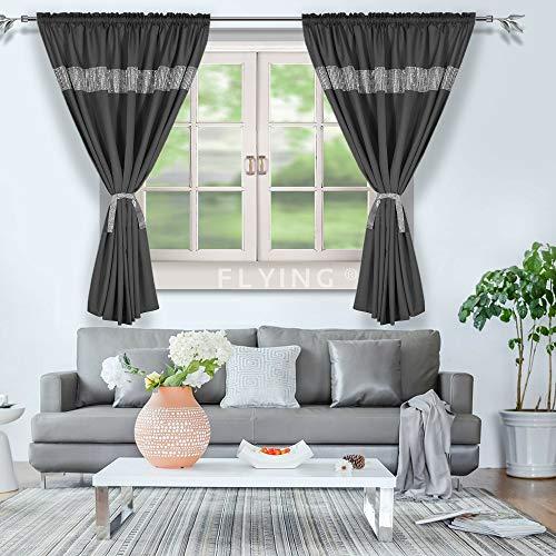 FKL, LB-KB, mooi kant-en-klaar gordijn, raamgordijn, gordijn met zirkonia, wit, zwart, grijs, plooiband, set van 2, (LB-KB Zwart)