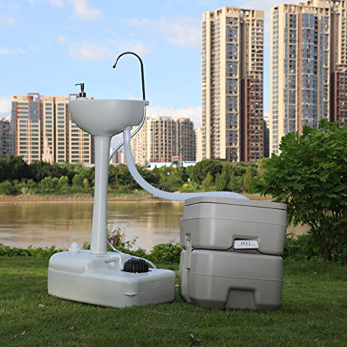 Portable Toilet Flush Wastewater Recycled Hand Wash Basin Stand
