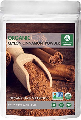 Premium Quality Organic Ceylon Cinnamon Powder (2lb) by Naturevibe Botanicals, Raw, Gluten-Free & Non-GMO (32 ounces)