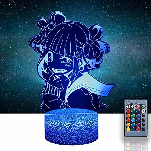 Luz de noche 3D para niños Himiko Toga My Hero Academia 16 botón táctil cambio de color 1.5 m USB cable decoración lámparas de escritorio