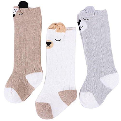 1-4 ans Bebe Fille/Garcon Chaussettes Hautes 3pairs Ensemble Chaussettes en Motifs Panda/Chat/Ours (M -18cm de longueur, B)