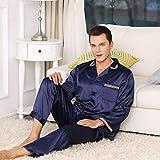 LinZhe Spring para Hombre Seda Pijama Pijama Pijamas Hombres Dormir Ropa de Seda camisón casero satén Suave Acogedor para Dormir
