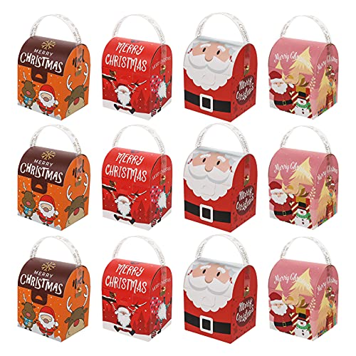 ABOOFAN 12Pcs Christmas Gift Boxes Candy Cookie Packing Case Apple Container for Xmas New Year Eve Holiday Party Favors