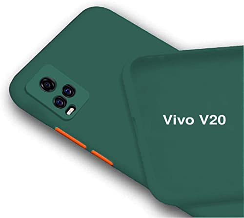 BRUSSEL Vivo V20 Matt TPU Back Cases and Covers Shockproof with Camera and Screen Protection Case Cover for Vivo V20 Green