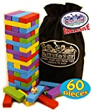 Matty's Mix-Up 60pc Large Colorful Wooden Tumble Tower Deluxe Stacking Game with Storage Bag