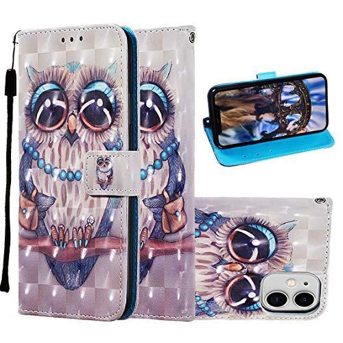 iPhone 11 Case, iPhone 11 Wallet Case, Etubby [Wallet Stand] PU Leather Wallet Flip Protective Case with Card Slots and Wrist Strap for Apple iPhone 11 6.1' (2019) - Owl