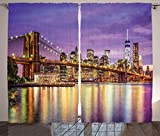 Ambesonne New York Curtains, NYC Exquisite Skyline Manhattan Broadway Old Neighborhood Tourist Country Print, Living Room Bedroom Window Drapes 2 Panel Set, 108' X 84', Purple Gold