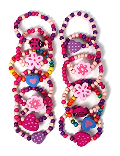 Stands Out, Supplying Outstanding Gifts 12 Bracelets Colourful Wooden Jewellery Girls Bracelets Christmas and Birthday Party Bag Stocking Filler Loot