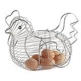 Huevera de gallina plateada de metal para cocina 35 X 17 X 28 cm, cesta para guardar...