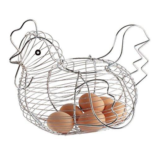 Huevera de gallina plateada de metal para cocina 35 X 17 X 28 cm, cesta para guardar huevos de metal cromado