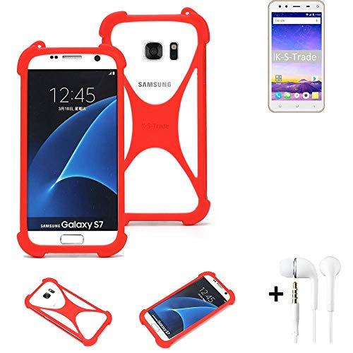 K-S-Trade Handyhülle + Kopfhörer Für Mobiistar XQ Dual Schutzhülle Bumper Silikon Schutz Hülle Cover Case Silikoncase Silikonbumper TPU Softcase Smartphone, Rot (1x)