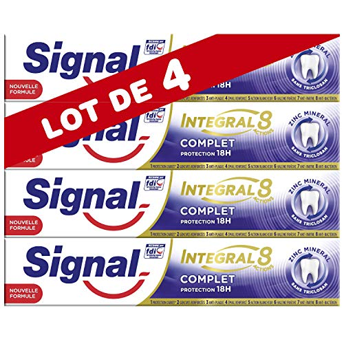 Signal Integral 8 Dentifrice Antibactérien au Pro-Time Zinc Protection Caries, Gencives Renforcées Email Renforcé Action Blancheur Haleine Fraîche Anti-Plaque & Anti-Tartre (Lot de 4x75ml)