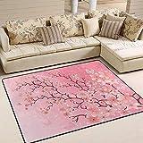 Sweet-Heart Área de Flor de Cerezo japonés Alfombra Alfombra Decoración del hogar para Dormitorio Dormitorio Sala de Estar Comedor Cocina Oficina