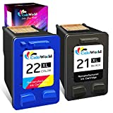 ColoWorld Remanufactured Ink Cartridge Replacement for HP 21 22 21XL 22XL Used with HP OfficeJet 5610 4315 J3680 DeskJet F2210 F4180 F380 F300 F4140 D1455 3940 F335 PSC 1410 Printer (1 Black, 1 Color)