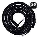 Power Gear Coiled Telephone Cord, 25 Foot Phone Cord, Works with All Corded Landline Phones, For Use in Home or Office, Black, 76139