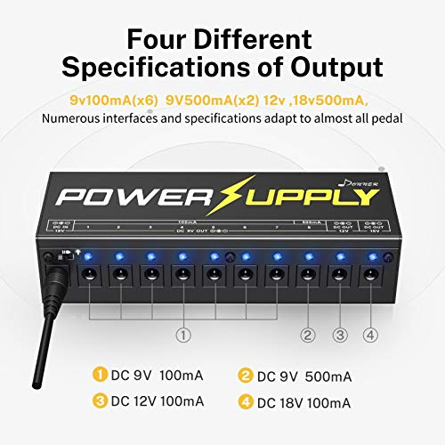 Donner DP-1 Guitar Power Supply 10 Isolated DC Output for 9V/12V/18V Effect Pedal