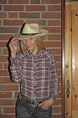 HKM Damen Westernbluse -Texas Fashion Bluse, lila/karo, XXL