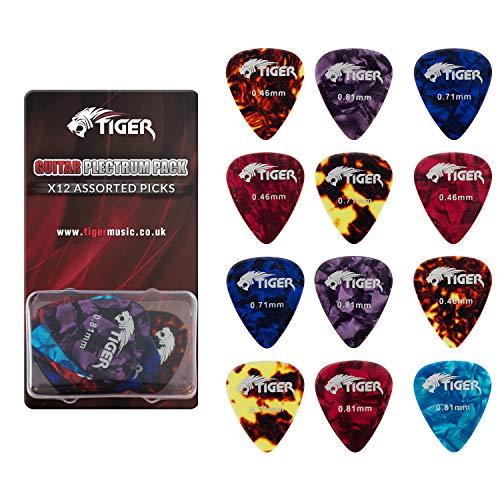 Tiger, plettri per chitarra in celluloide, confezione da 12 pezzi, leggeri e pesanti (da 0,46a0,81mm)