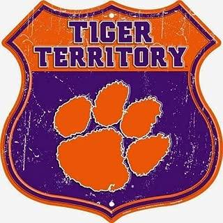 Losea Clemson Tiger Territory 12 x 12 Rustic Retro Metal Tin Sign Wall Decor Art
