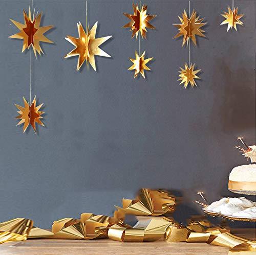 Guirnalda de estrella de papel dorado 3D para colgar en varios tamaños con estrellas doradas brillantes para bodas, cumpleaños, fiestas, decoración de vacaciones, 2 unidades dorado