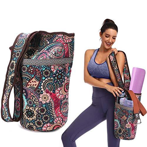 Miwaimao Fashion Yoga Mat Bag Canvas Yoga Bag Bolso de Yoga de Gran tamaño Cremallera Bolsillo Adaptarse a la mayoría de tamaño esteras de Yoga Esterilla Tote Sling Carrier Fitness Supplies E