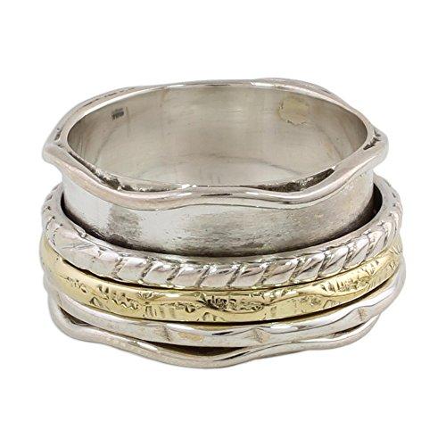 NOVICA .925 Sterling Silver Brass Meditation Spinner Ring 'Spinning Grace'