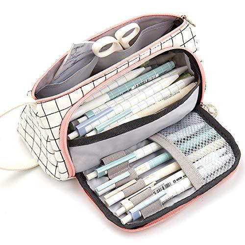 DishyKooker Pen Pencil Case Großformat Leinwand Aufbewahrungsbeutel Schreibwaren Taschenhalter für Schulbüro Studienbedarf schwarz weiß kariert