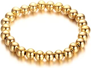 Stainless Steel Gold-Plated Black Beaded Stretch Bracelet 6mm & 8mm Round Beads