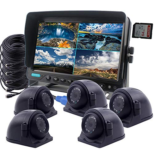 CAMSLEAD Car Backup Camera System 9 inch Monitor Built-in DVR Recorder with Quad Split Screen, 5 x Heavy Cameras, High Hardness 10G Vibration Side Camera Rear View Camera Monitor Kit for Truck Van