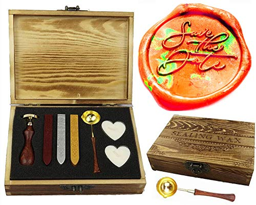 MNYR Save The Date Monogram Wax Seal Stamp Wax Sticks Candle Wooden Gift Box Kit Spoon Set- Ideal for Decorating Gift Packing, Envelopes, Parcels, Cards, Letetrs, Wedding Invitations Seal Stamp