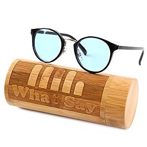 What Say ゴールドブリッジ クラシックフレーム カラーレンズ サングラス クリアレンズ 伊達メガネ 全22色 アジアンフィット トレンド UV400 メンズ レディース ソフト & ハードケース 付 (ライトブルー/ブラック・ゴールド)
