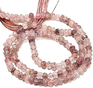 Sale on 65% Off jewel beads 5 Strands 3.5mm Strawberry Quartz Beads, Faceted Rondelle Beads, Gemstone Beads, 13.5 Inch StrandCode:- AUR-23817