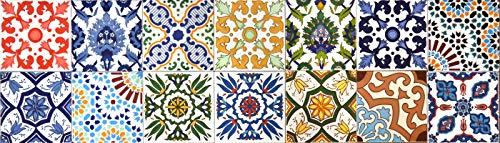 14 Mattonelle MISTE in ceramica smaltata. Pacco contenente 14 mattonelle decorate 20 X 20 cm spessore 0,6 cm - Mattonelle Tunisine realizzate con Serigrafia Artigianale