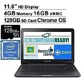 2020 Newest Samsung Chromebook 11.6 Inch Laptop with Webcam, Intel Celeron N3060 up to 2.48 GHz, 4GB RAM, 16GB eMMC, WiFi, Bluetooth, HDMI, Chrome OS + NexiGo 128GB MicroSD Card Bundle