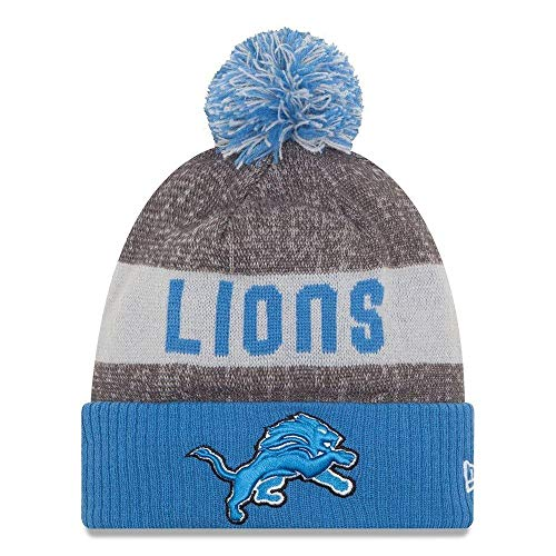 New Era Knit Detroit Lions Gray On Field Sideline Sport Knit Winter Stocking Beanie Pom Hat Cap 2015