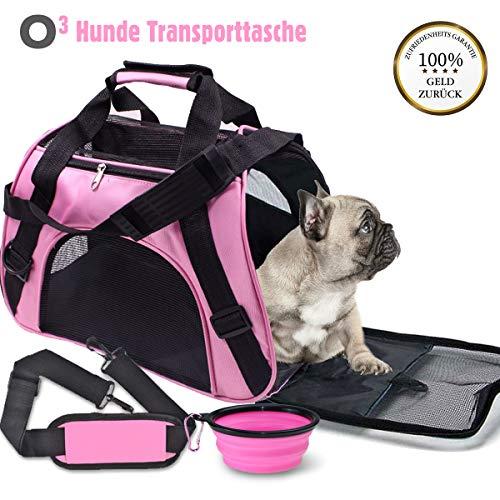 O³ Pets Transporttasche Hund oder Katze // Tragetasche bis 5kg faltbar + Reisenapf // Hundebox kleine Hunde // Hundetragetasche – Katzentragetasche