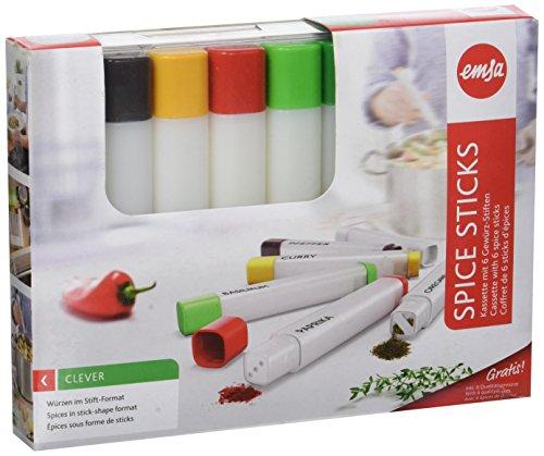 Emsa 513679 Würzstifte in Kassette, 6 Stück, Volumen 35 ml, Transparent/Weiß, Spice Sticks