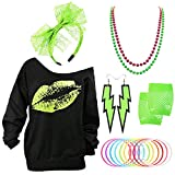 80s Outfits Accessories for Women - Pink Lips Print Off Shoulder Sweatershirt,1980s Accessories for 80s Costumes (Green-Green, Small)
