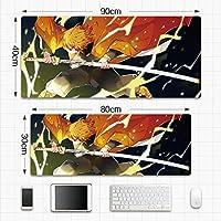鬼滅の刃デーモンブレイド滑り止めゴム製コンピューターマウスパッド、大型デスクパッド、プロのゲーミングマウスパッド-アニメデザイン大型マウスパッドゲーミングキーボードパッドアニメマウスパッド疲労軽量防水マウスパッド800 * 300 * 3MM / 900 * 400 * 3MM-A_800*300*3mm_