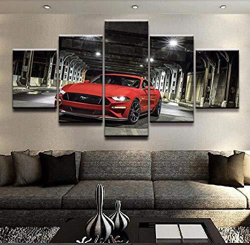 YUANJUN 3D Leinwanddrucke,Modulare Wandkunst Wandaufkleber,5 Teiliges Wandbild,Mit Rahmen,Größe 150 X 80 cm Leinwandbild, Wandbilder XXL Ford Mustang Auto Bilder