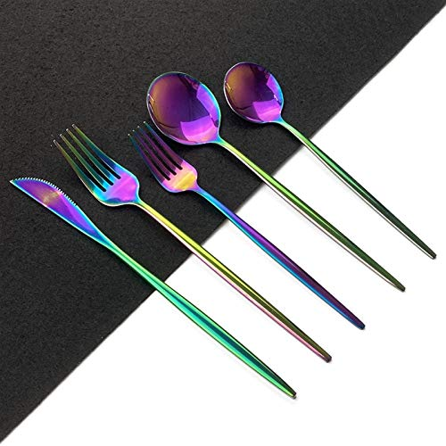 4 Set Rose Gold Flatware Set Mirror Cubiertos Juego de cubiertos 304 Cuchillo de vajilla de acero inoxidable Postre Tenedor Cuchara Cuchara (Color : Rainbow)